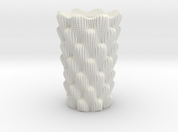 Cactus Vase 1 in White Natural Versatile Plastic