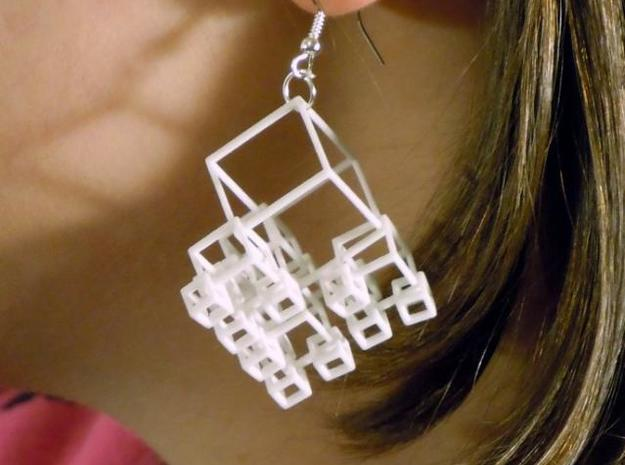 1+4+4×4 Cubes Earrings in White Processed Versatile Plastic
