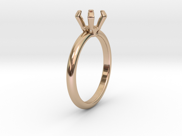 Round Solitaire in 14k Rose Gold Plated Brass: 6 / 51.5
