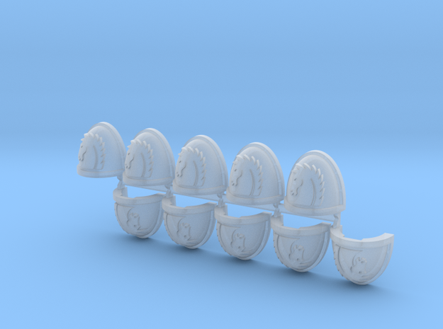 Commission 19 (horse head) Shoulder Pads x10 in Smooth Fine Detail Plastic