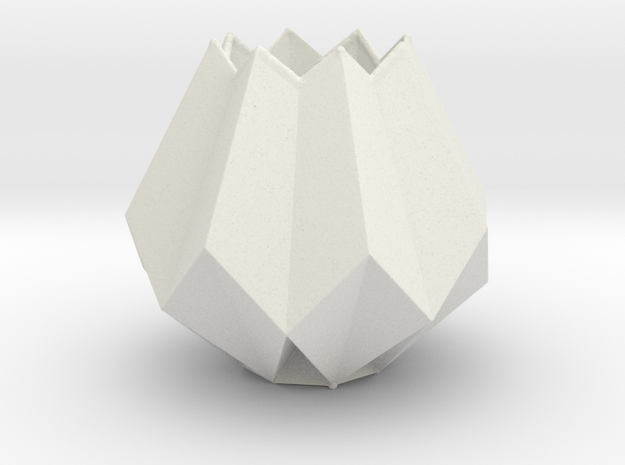Low Poly Folded Vase in White Natural Versatile Plastic