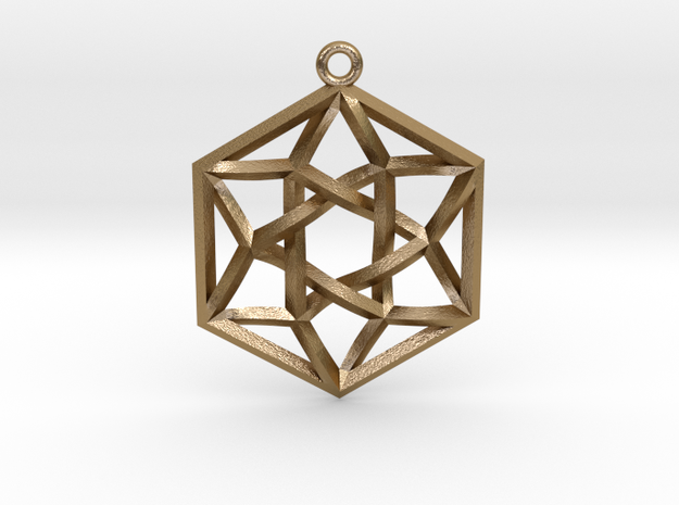 """Woven Vector Equilibrium Pendant v2  1.2"""" in Polished Gold Steel"""