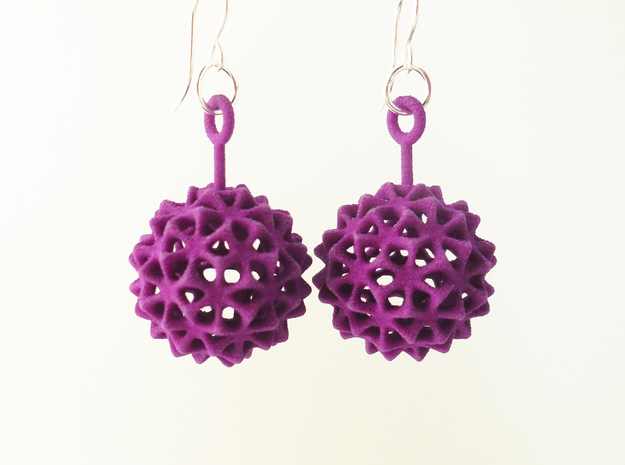 Virus Ball -- Plastic Earrings in Purple Processed Versatile Plastic