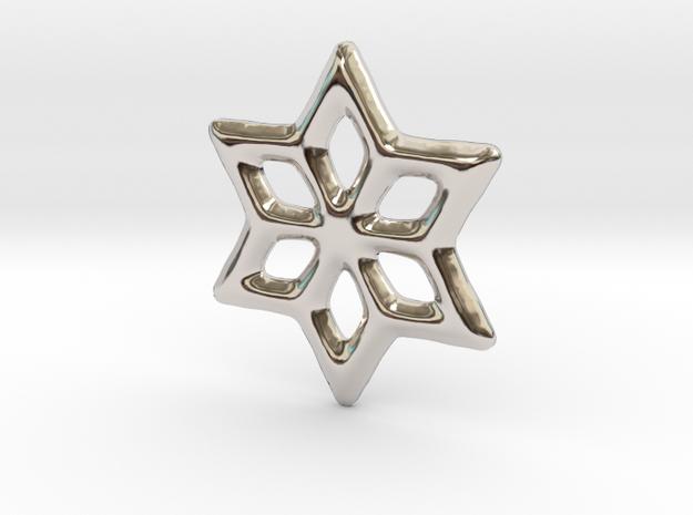 6 branchs star in Rhodium Plated Brass