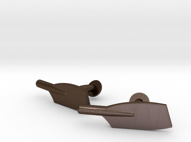 Oar Cleaver Cufflinks in Polished Bronze Steel