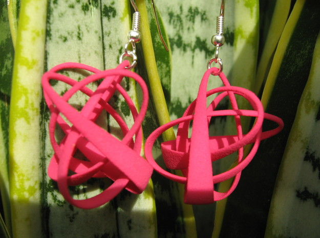 Lissajous Earrings in Red Processed Versatile Plastic