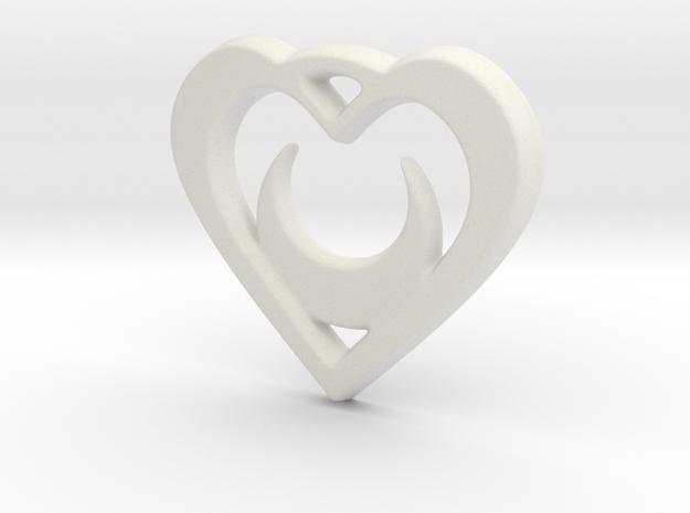 Crescent Moon Heart 35mm Pendant in White Natural Versatile Plastic