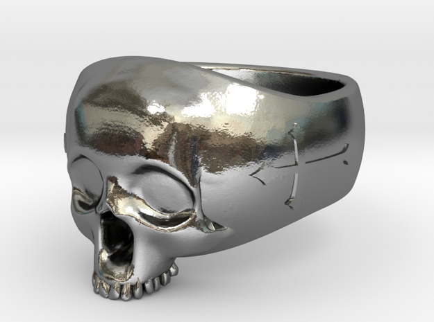 Skullring 24mm in Polished Silver