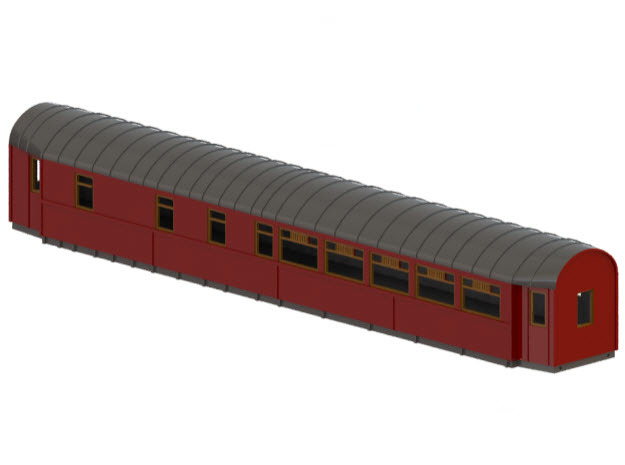 ABo3a - Swedish passenger wagon in White Natural Versatile Plastic