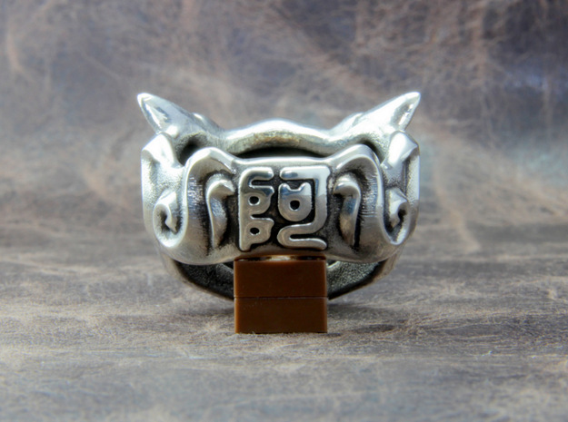 "Fu Dog (Komainu) ""a"" Ring 3d printed Chinese character ""a"" is engraved."