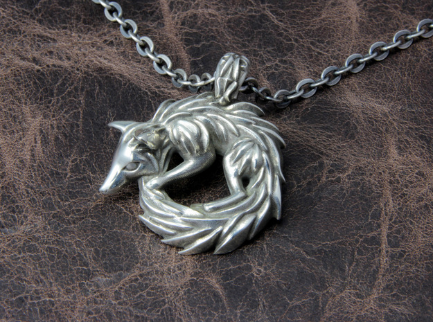 Fox Pendant in Polished Silver