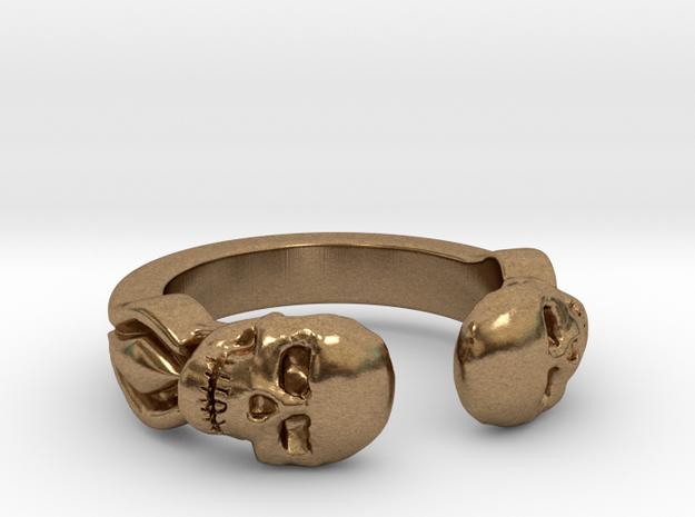 Joker's Double-Skull Ring - Metals in Raw Brass: 7 / 54