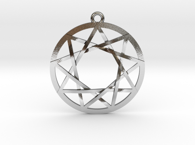 """The Council of 9 Pendant 1"""" in Polished Silver"""