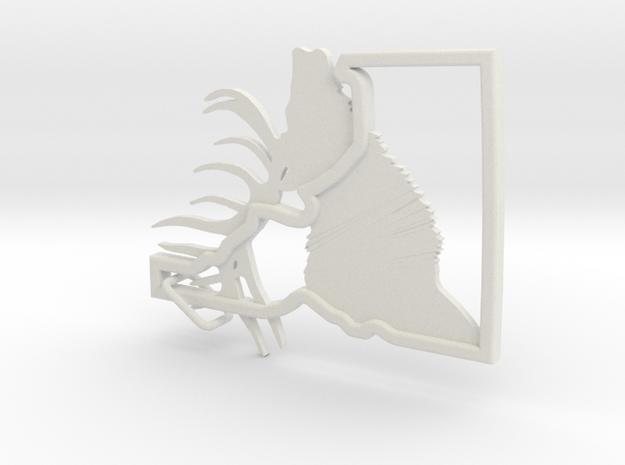 Idaho-Elk-Keychain in White Natural Versatile Plastic