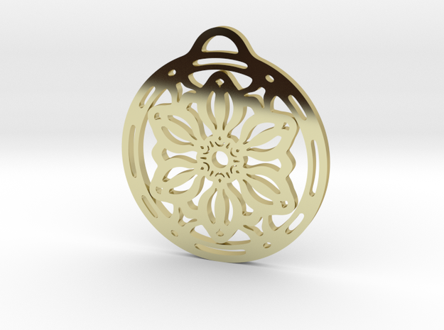 Daisy Pendant in 18k Gold Plated Brass