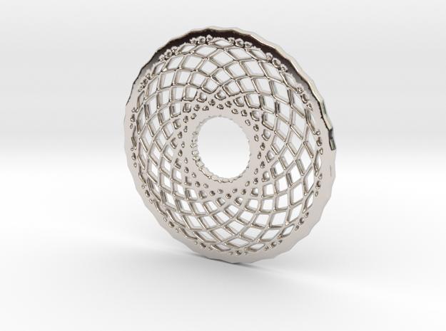 Mandala shape for pendants in Rhodium Plated Brass