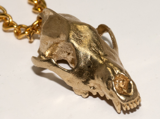 Wolf  (Canis Lupus) in Raw Brass
