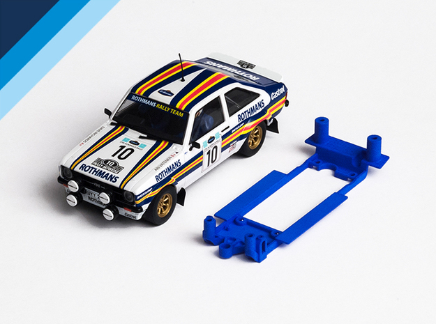 1/32 Scalextric Ford Escort Mk2 Chassis for IL pod in White Natural Versatile Plastic