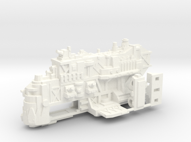 Ork Battleship in White Processed Versatile Plastic