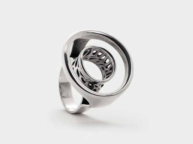 Open Circle Ring . Voronoi - Karma Ring in Polished Silver: 6 / 51.5