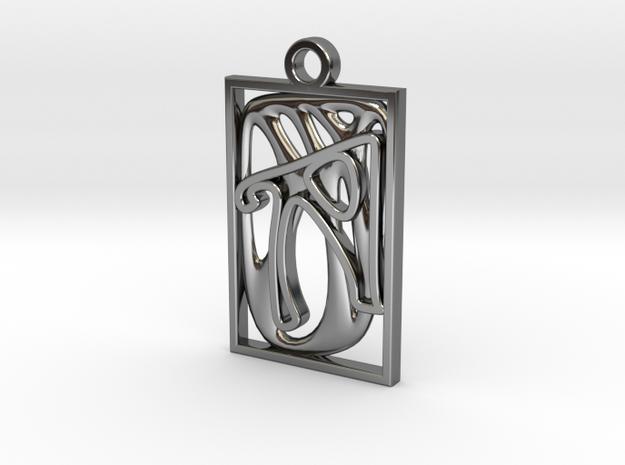 Personalised Voronoi Rectangular Pendant in Fine Detail Polished Silver