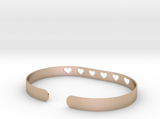 Heart Bracelet in 14k Rose Gold Plated Brass