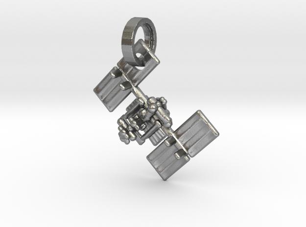 I.S.S. Pendant in Interlocking Raw Silver