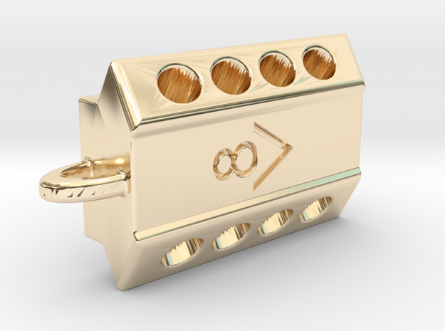 V8 engine pendant in 14K Yellow Gold
