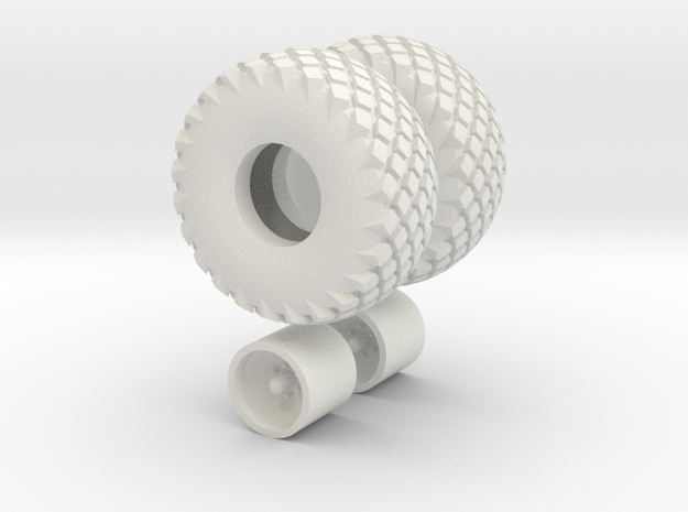 1/64 scale 16.5L X 16.1 Turf Tires And Wheels in White Natural Versatile Plastic