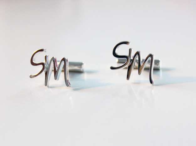 Cuff links SM in Fine Detail Polished Silver