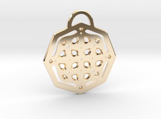 Fancy octagon. Pendant in 14k Gold Plated Brass