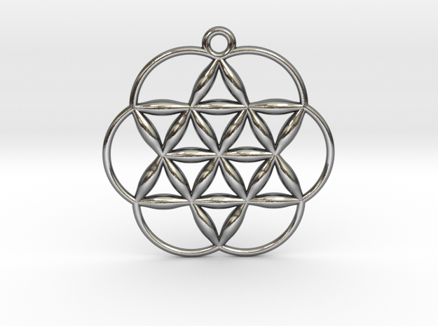 """Flowering Seed of Life Pendant 1"""" in Polished Silver"""