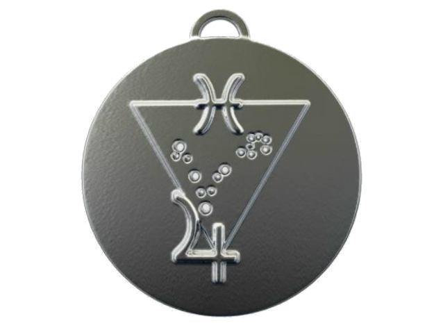 Pisces talisman in Polished Silver