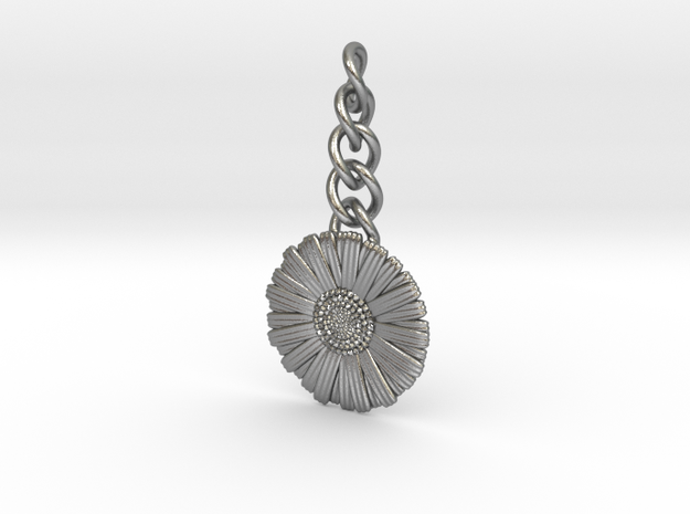 Daisy Keychain Charm in Natural Silver (Interlocking Parts)