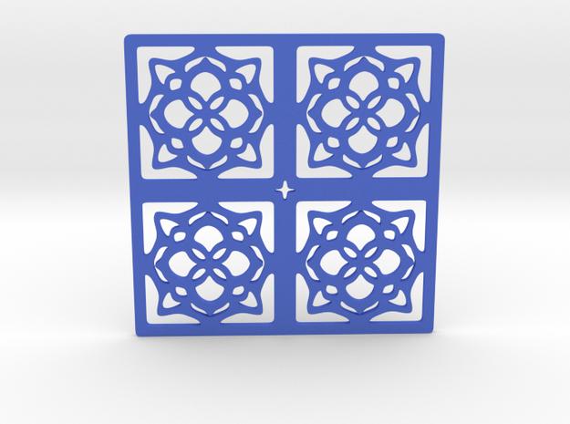 Cup coaster - pattern III in Blue Processed Versatile Plastic