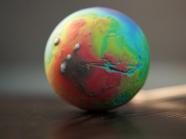 Topographic Mars  in Full Color Sandstone