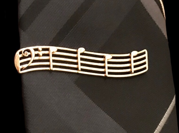 Bass Clef Tie Clip in Polished Bronze
