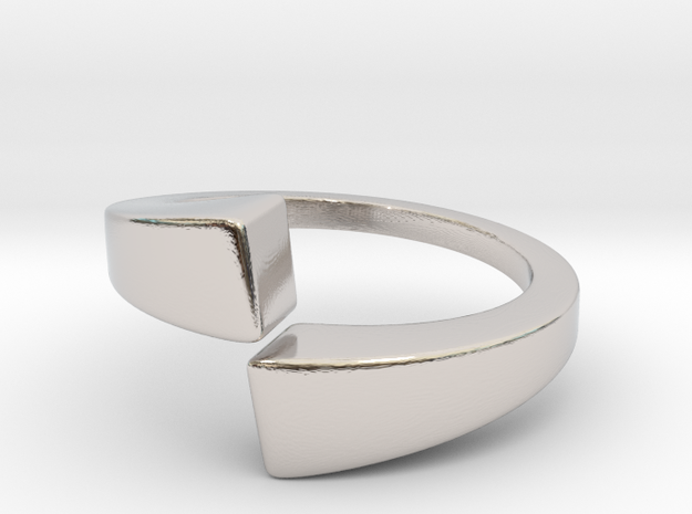 Dual pyramids rings in Rhodium Plated Brass: 2 / 41.5