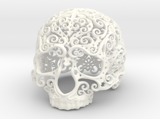 Intricate Filigree Skull 5cm in White Processed Versatile Plastic
