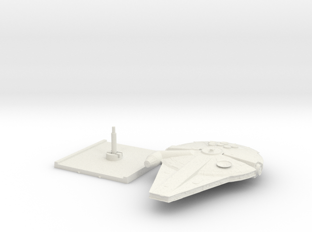 Millennium Falcon Han Solo's movie with base in White Natural Versatile Plastic