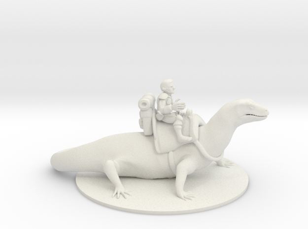 Gnome Warlock on Lizard Mount in White Natural Versatile Plastic