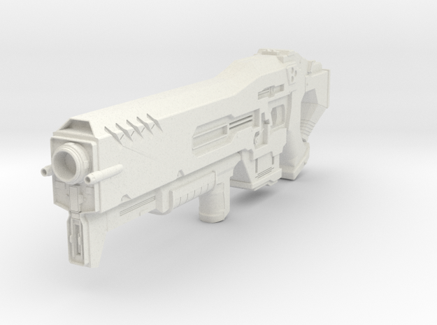 Starcraft 2 Terran Gun in White Natural Versatile Plastic: 28mm