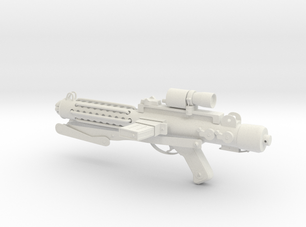 E-11 Stormtrooper Blaster in White Natural Versatile Plastic: 28mm