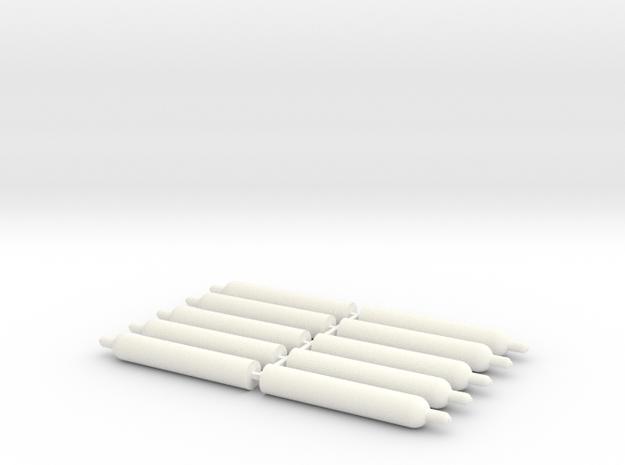 1:43 0 gauge gas bottle 10x technische Gase in White Processed Versatile Plastic