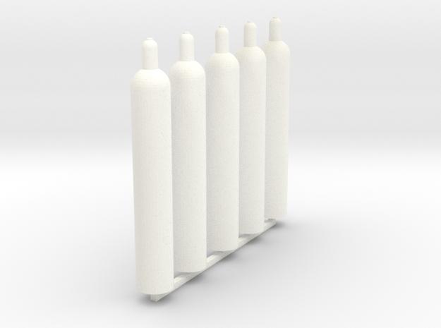 1:43 0 gauge gas bottle 5x technische Gase in White Processed Versatile Plastic