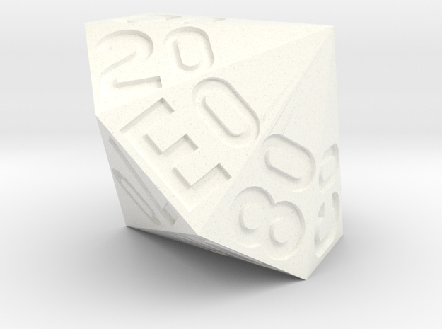 d16 Hex Percentile Die in White Processed Versatile Plastic