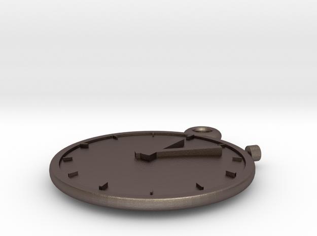 Clock Keychain - Stopwatch in Polished Bronzed Silver Steel
