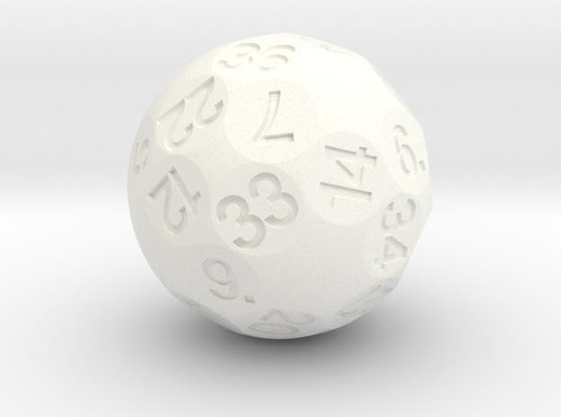 d36 Sphere Dice in White Processed Versatile Plastic