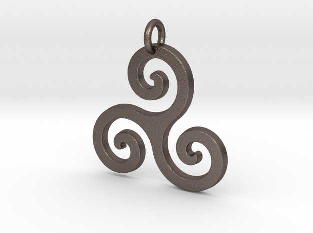Triskele Triple Spiral Celtic Pendant in Polished Bronzed Silver Steel