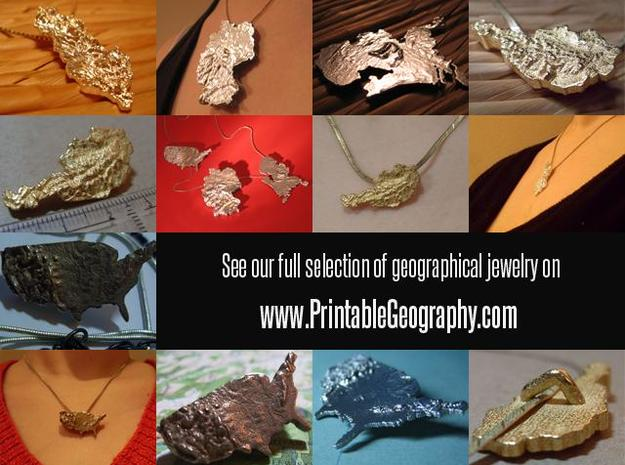French Guiana Terrain Silver Pendant 3d printed www.printablegeography.com